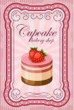 Винтажный плакат пирожного иллюстрация вектора