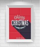 Винтажный плакат рождества. Стоковое Фото