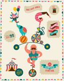 Винтажный плакат с масленицей, ярмаркой потехи, цирком иллюстрация штока