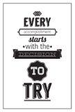 Винтажный плакат с цитатой мотивировки Стоковые Изображения RF