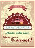 Винтажный плакат хлебопекарни иллюстрация штока