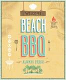 Винтажный плакат BBQ пляжа. Предпосылка вектора. Стоковые Изображения RF