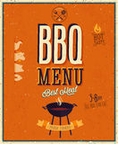 Винтажный плакат BBQ. Стоковые Фотографии RF