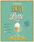 Винтажный плакат Latte. Стоковые Изображения RF