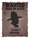Винтажный плакат Wanded - западный Стоковая Фотография