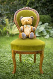 Винтажный плюшевый медвежонок с бабочкой Стоковое фото RF
