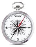 Винтажный реалистический компас в случае металла вектор Стоковые Изображения