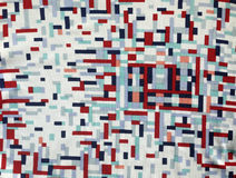 Винтажный реальный нейлон 1960s ткани, сливк, красный цвет, картина военно-морского флота геометрическая Стоковое Фото
