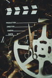 Винтажный редактировать концепции предпосылки кино и отрезок выпускных экзаменов Стоковая Фотография RF