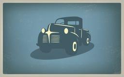 Винтажный ретро вектор автомобиля грузового пикапа Стоковое Изображение