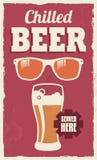 Винтажный ретро знак пива Стоковое Изображение