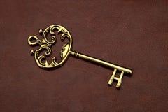 Винтажный/ретро золотой ключ на кожаной предпосылке Стоковые Фотографии RF