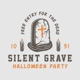 Винтажный ретро логотип хеллоуина, эмблема, значок, ярлык, метка бесплатная иллюстрация