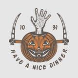 Винтажный ретро логотип хеллоуина, эмблема, значок, ярлык, метка, patche иллюстрация вектора