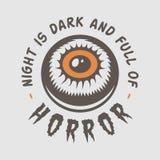 Винтажный ретро логотип хеллоуина, эмблема, значок, ярлык, метка, patche иллюстрация штока