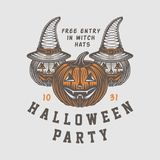Винтажный ретро логотип хеллоуина, эмблема, значок, ярлык, метка, patche бесплатная иллюстрация