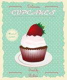 Винтажный ретро плакат пирожного стиля Стоковая Фотография RF