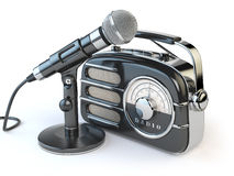 Винтажный ретро радиоприемник и микрофон на белизне иллюстрация вектора