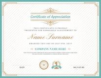 Винтажный ретро шаблон предпосылки сертификата рамки стиля Арт Деко Стоковое Фото