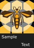 Винтажный ретро шаблон плаката пчелы Стоковые Изображения