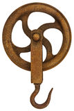 Винтажный ржавый крюк крана изолированный на белизне Стоковые Изображения