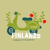 Винтажный самокат, путешествуя в Финляндии иллюстрация вектора