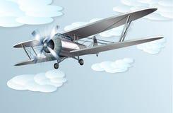 Винтажный самолет-биплан иллюстрация штока