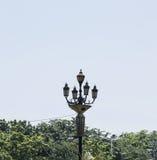 Винтажный светлый столб на улице Стоковое Изображение