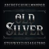 Винтажный серебряный шрифт алфавита Старые письма и номера влияния металла иллюстрация штока