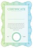 Винтажный сертификат Дипломы шаблона, валюта Стоковая Фотография