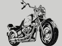 Винтажный силуэт вектора мотоцикла Стоковая Фотография