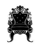 Винтажный силуэт черноты кресла Французские роскошные богачи высекли мебель украшенную орнаментами Стиль вектора викторианский ко Стоковое Изображение