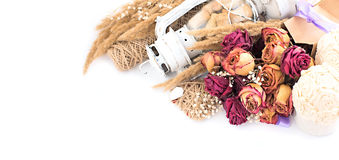 Винтажный состав высушенных цветков Стоковое Изображение RF