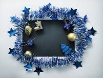 Винтажный состав рождества на белизне Положение квартиры рождества тонизировало фото Стоковая Фотография RF