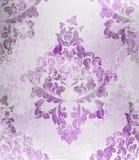 Винтажный старый бумажный вектор текстуры Роскошное барочное оформление орнамента обоев картины Ткань, ткань, плитки Фиолетовые ц иллюстрация вектора