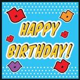 Винтажный стиль искусства шипучки поздравительой открытки ко дню рождения с знаком поцелуя с поцелуем и губами Стоковое Изображение RF