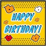 Винтажный стиль искусства шипучки поздравительой открытки ко дню рождения с знаком поцелуя Стоковые Изображения RF