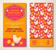 Винтажный счастливый дизайн поздравительной открытки пасхи иллюстрация штока