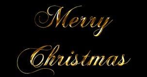 Винтажный текст слова желтого золота металлический с Рождеством Христовым с светлым отражением на черной предпосылке с каналом ал