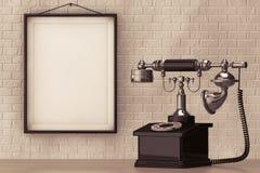 Винтажный телефон перед кирпичной стеной с пустой рамкой Стоковая Фотография
