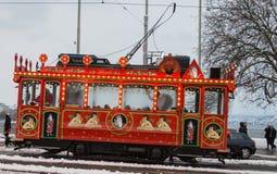 Винтажный трамвай в zurich Стоковая Фотография