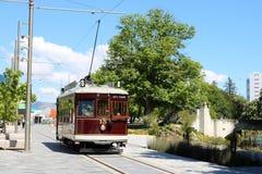 Винтажный трамвай на путешествии Крайстчёрча, Новой Зеландии Стоковые Фотографии RF