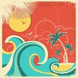 Винтажный тропический плакат с островом и ладонями. Vect Стоковая Фотография RF