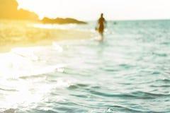 Винтажный тропический пляж и море для предпосылки каникул Стоковое Изображение RF