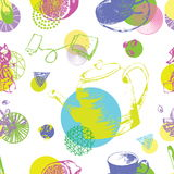 Винтажный фарфор чая картина безшовная предпосылка с чашками и чайниками с элементами круга в стиле искусства шипучки Стоковое Изображение