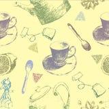 Винтажный фарфор чая картина безшовная также вектор иллюстрации притяжки corel Предпосылка с чашками и чайниками Стоковая Фотография