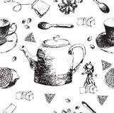 Винтажный фарфор чая картина безшовная также вектор иллюстрации притяжки corel Стоковые Фото