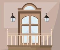 Винтажный фасад Vectror двери Иллюстрация парадного входа Стоковое Изображение RF