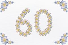 Винтажный флористический дизайн с цветением и сердцами, днем рождения 60 Стоковое Изображение RF