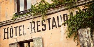 Винтажный французский знак гостиницы Стоковое Изображение